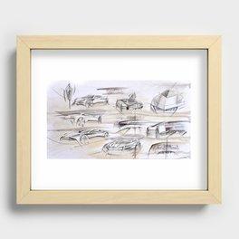 Cardesign Sketch Artwork Recessed Framed Print