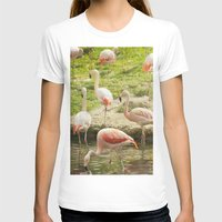 flamingos T-shirts featuring Flamingos by Sandy Broenimann