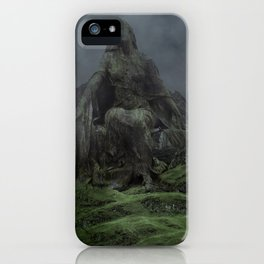 Giant Goddess Statue on a Green Hilly Landscape iPhone Case