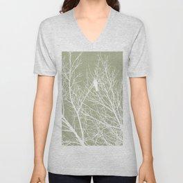 White Bird in White Tree - Moss A593 Unisex V-Neck