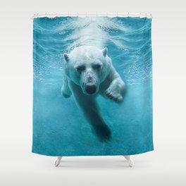 Polar Bear Swimming Shower Curtain