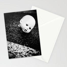Dark, weird, disturbing doll head, black and white Stationery Cards