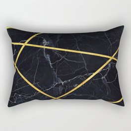 Black marble with gold lines Rectangular Pillow