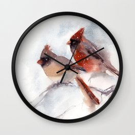 Northern Cardinal Birds Couple Wall Clock