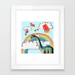 """""""busy skies"""", thought the dinosaur Framed Art Print"""