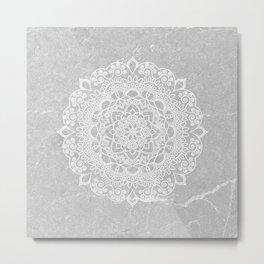Mandala on concrete Metal Print