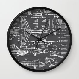 F-18 Blueprints // Charcoal-Grey Wall Clock