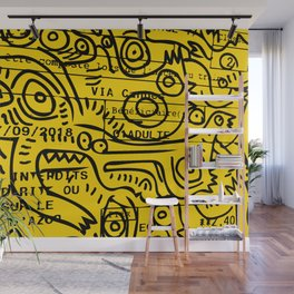 Yellow Street Art Graffiti Train Ticket Wall Mural