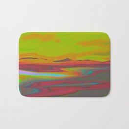 """Pixel Beach"" (Yellow/Red) Digital Painting // Fine Art Print Bath Mat"