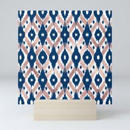 Artsy Modern Rose Gold Navy Blue Ikat Geo Mini Art Print