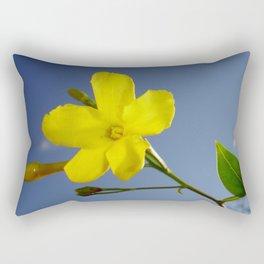 Yellow Jasmine Flower and Bud Against Blue Sky Rectangular Pillow