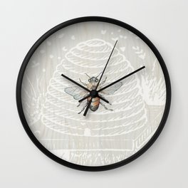 In the Bee Hive White on Wood Background Wall Clock