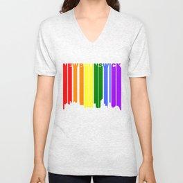 New Brunswick New Jersey Gay Pride Skyline Unisex V-Neck