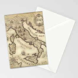 Vintage map of Italy Stationery Cards