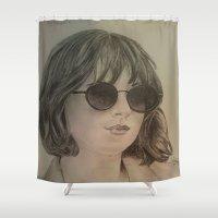 allyson johnson Shower Curtains featuring DAKOTA JOHNSON by Virginieferreux