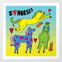 I <3 Horses Art Print