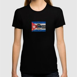 Old Vintage Acoustic Guitar with Cuban Flag T-shirt