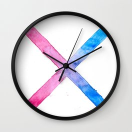 SUICIDE SQUAD HARLEY QUINN INSPIRED RED AND BLUE CROSS. Wall Clock