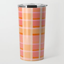 Orange asymmetrical stripes Travel Mug