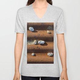 Pebbles on rust Unisex V-Neck