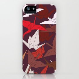 Japanese Origami paper cranes symbol of happiness, luck and longevity, sketch iPhone Case