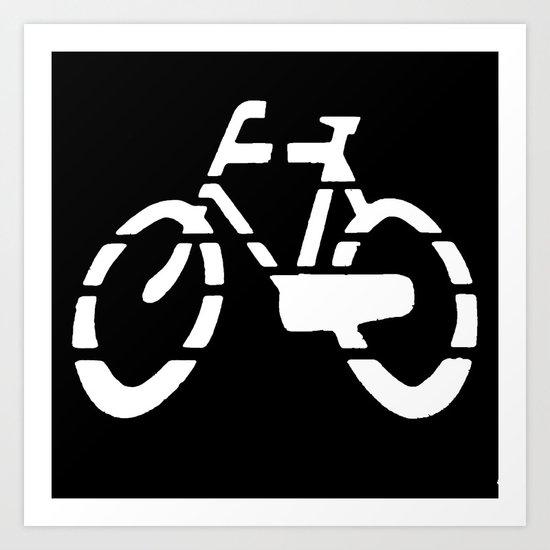 Bike Silhouette Black Art Print