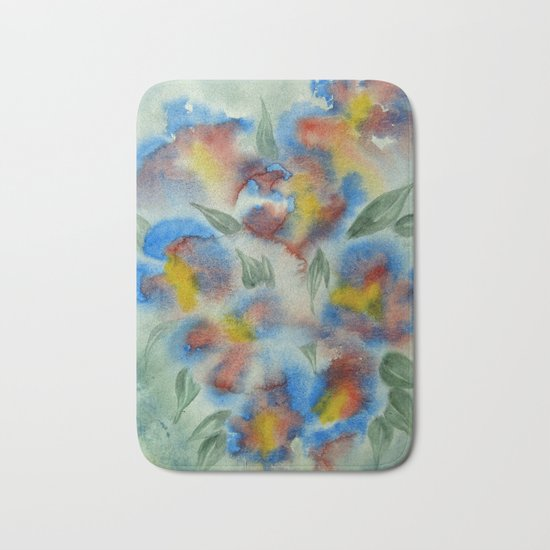 Abstract Flowers Blue Watercolor Bath Mat