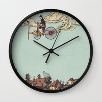 yetiland Wall Clocks featuring Steam FLY by Diego Verhagen