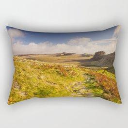 Hadrian's Wall, near Housesteads Fort in early morning light Rectangular Pillow