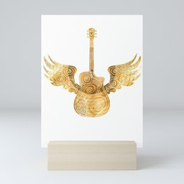 Golden guitar for golden records Mini Art Print