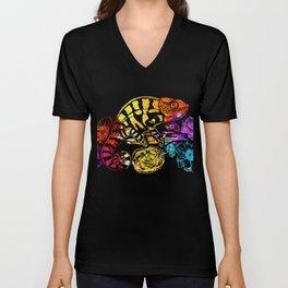 Colorful Chameleon Lizard Lovers T-shirt Unisex V-Neck