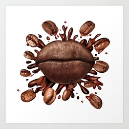 Coffee Lips Art Print
