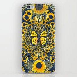 YELLOW MONARCH BUTTERFLY & GREY MODERN FLORAL ART iPhone Skin