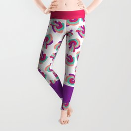 Retro 70's Groovy Swirly Paint Coral Red Purple Leggings