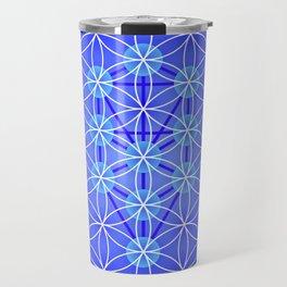 Flower Of Life - Blue Travel Mug