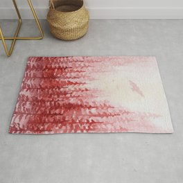 """""""Red Forest"""" watercolor landscape painting Rug"""