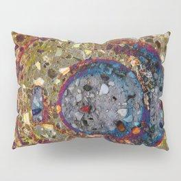Mosaik orange with a dark blue circle Pillow Sham