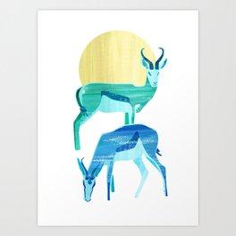 Antilopes in the sun Art Print