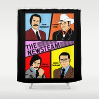 will ferrell Shower Curtains featuring The Newsteam - Anchorman by Buby87
