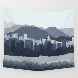 Vancouver Skyline - Blues Wall Tapestry