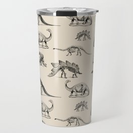 Museum Animals | Dinosaur Skeletons on Cream Travel Mug