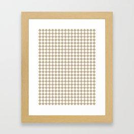 Small Diamonds - White and Khaki Brown Framed Art Print