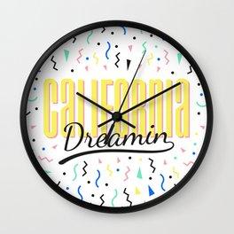 California dreamin (memphis pattern) Wall Clock