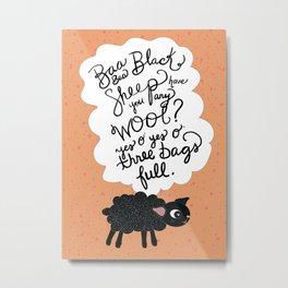 Baa Baa Black Sheep Metal Print