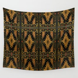 Black and Gold Floral Book Wall Tapestry