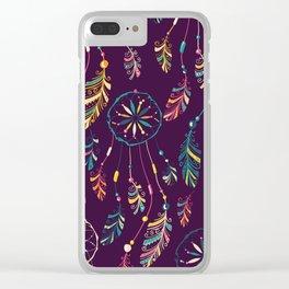 Bohemian Purple Dream Catcher Pattern Clear iPhone Case