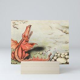 Snarling Red Dragon illustration Mini Art Print