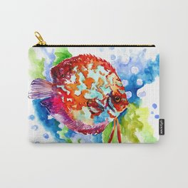 Bright Colored Aquarium Fish, Aquatic Beach Design Discus Carry-All Pouch