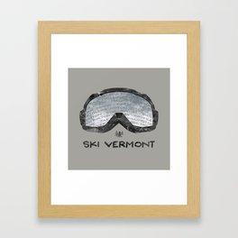 Ski Vermont Ski Goggles — Black with VT Mountains Framed Art Print