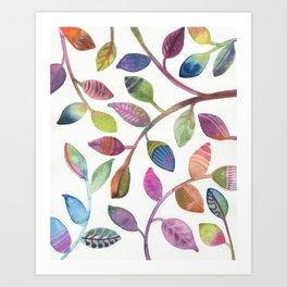 Colorful Leaves Watercolor Art Print